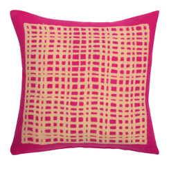 Square Grid Block Print PURE LINEN Pillowcase, Magenta