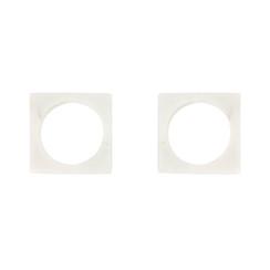 WHITE MARBLE MODERNIST NAPKIN RINGS, SET OF 2