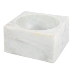 WHITE MARBLE MODERNIST BOWL, MEDIUM