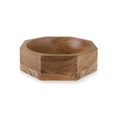 Acacia Wood Modernist Octagonal Bowl, Large