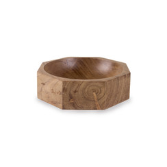 Acacia Wood Modernist Octagonal Bowl, Medium