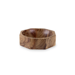 Acacia Wood Modernist Octagonal Bowl, Small