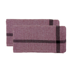 Found Towel Faded Red with Burgundy Stripe Set/2