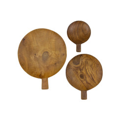 Teak Root Paddle Tray, Set/3