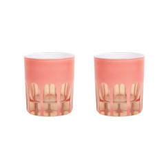 Rialto Glass Old Fashion Set/2, Salmon