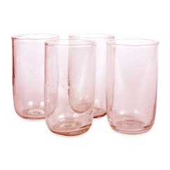Tall Seeded Glasses, Pale Rose