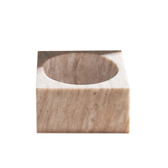 BEIGE MARBLE MODERNIST BOWL, MEDIUM