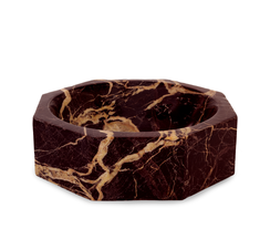 RED MARBLE MODERNIST OCTANGULAR BOWL, LARGE