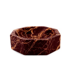 RED MARBLE MODERNIST OCTANGULAR BOWL, MEDIUM
