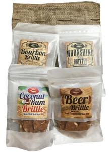 Award Winning Alcohol Infused Gourmet Peanut Brittle 4 Pack Sampler