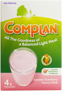 Complan Strawberry Flavour Nutritional Drink - 4 x 57g Sachets