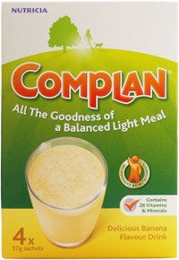Complan Banana Flavour Nutritional Drink - 4 x 57g Sachets
