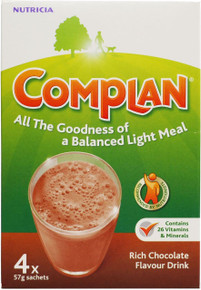 Complan Chocolate Flavour Nutritional Drink - 4 x 57g Sachets