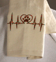 Hemmed Beige Heart Beat Paw Drool Towel