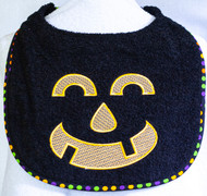 Friendly Black Terry Pumpkin Face Dog Drool Bib