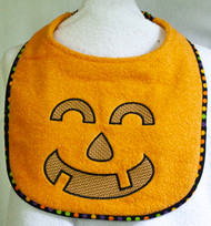 Friendly Orange Terry Pumpkin Face Dog Drool Bib