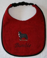 dark red terry dog drool bib