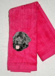 ON SALE!  Black Newf on Pink Hemmed Drool Towel
