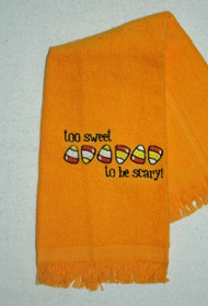 ON SALE!  Halloween Design on Gold Fringed Drool Towel