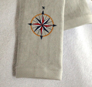 Compass on Gray Hemmed Drool Towel