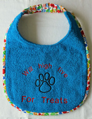 Large turquoise terry dog drool bib