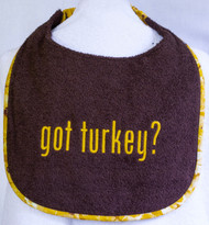 Got Turkey? Dark Brown Dog Drool Bib