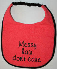 Coral terry dog drool bib