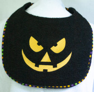 Black Terry Pumpkin Face Dog Drool Bib