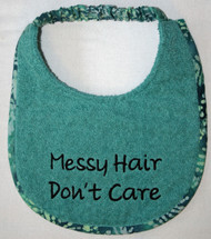 Teal Terry Puppy size Messy Hair Don't Care Drool Bib