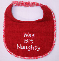 Puppy sized Wee Bit Naughty Dog Drool Bib