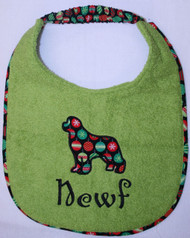 Holiday Appliqued Newf Dog Drool Bib