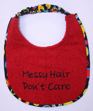Red Terry Puppy size Messy Hair Don't Care Drool Bib
