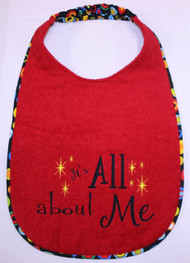 Red Terry All About Me Super Sized Bib In Stock