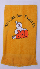 ON SALE!  Halloween Design Fringed Gold Tricks for Treats Drool Towel