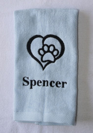 Personalized Heart Paw Drool Towel