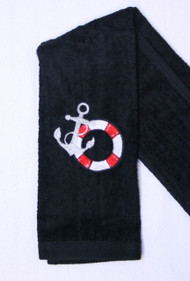 Life Ring on Black Hemmed Drool Towel