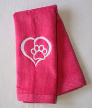 Heart Paw on Pink Hemmed Drool Towel