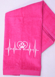 Hemmed Hot Pink Heart Beat Paw Drool Towel