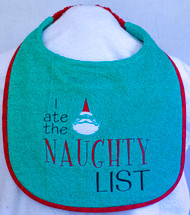 I Ate The Naughty List Dog Drool Bib Special Order