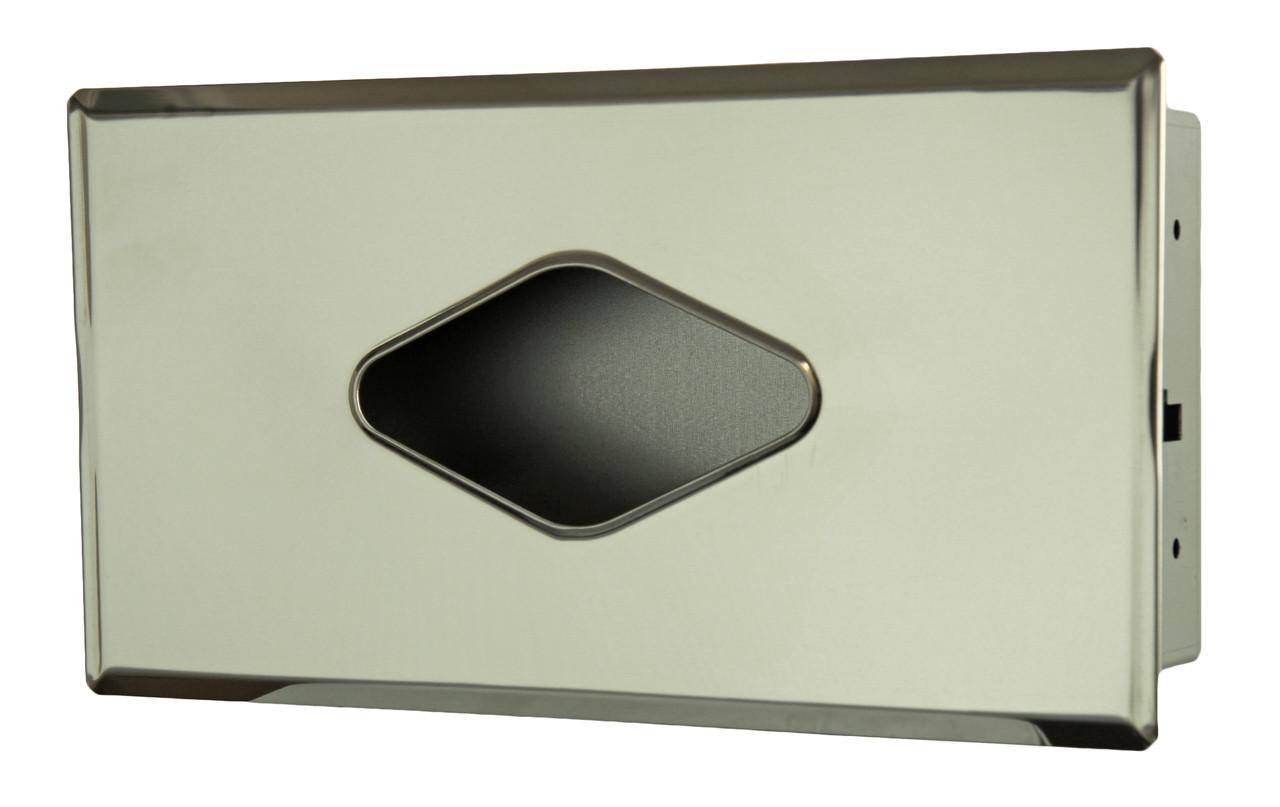 Chrome recessed facial tissue dispenser