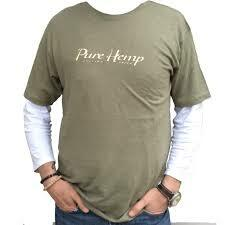 Pure Hemp T-shirt with Logo Design - Sage Green Color