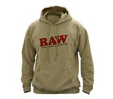 Raw Pullover Hoodie with Logo Design - Tan Color