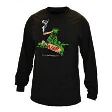 Raw - Long Sleeve T-shirt - Black with Lizard Design