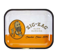 "Zig Zag Large Metal Rolling Tray, Classic Orange Design - 14"" x 11"""