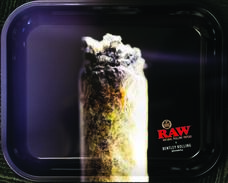 "Raw Large Metal Rolling Tray, Bentley Rolling Design - 14"" x 11"""