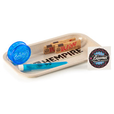 "6 Item Bundle - Hempire 10"" x 7"" Rolling Tray + 3 Packs Raw 1 1/4 Papers + Beamer 3-Piece 63mm Acrylic Grinder + Beamer Doob Tube"