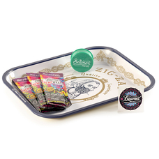 "5 Item Bundle - Zig Zag 14"" x 11"" White Rolling Tray + 3 Packs Beamer Hemp Wraps + 3-Piece Acrylic Grinder"