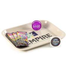 "5 Item Bundle - Hempire 14"" x 11"" Metal Rolling Tray + 3 Packs of Beamer Hemp Wraps + Beamer 3-Piece 63mm Acrylic Grinder"