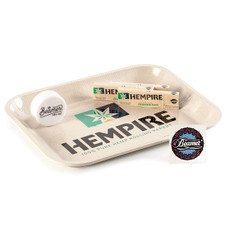 """5 Item Bundle - Hempire 14"""" x 11"""" Metal Rolling Tray + 3 Packs of Hempire Freedom Pack King Size Papers with Tips + 3-Piece 63mm Acrylic Grinder"""