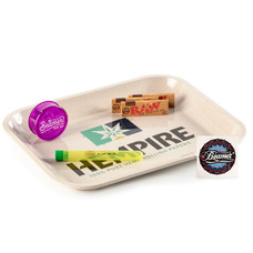 "6 Item Bundle - Hempire 14"" x 11"" Rolling Tray + 3 Packs Raw 1 1/4 Papers + Beamer 3-Piece 63mm Acrylic Grinder + Beamer Doob Tube"